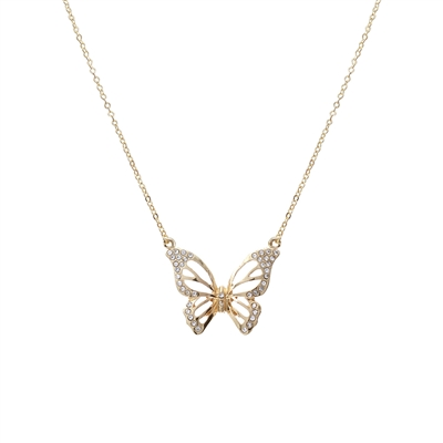 17330CR ANTIQUE GOLD RHINESTONE BUTTERFLY NK