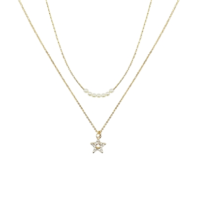 17335CRWH PEARL THIN LAYER STAR SHORT NECKLACE