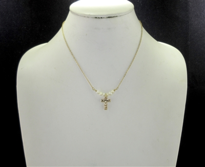 "17489WH FRESH WATER PEARL ""BLESSED"" CROSS THIN GOLD NK"