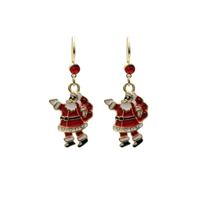 21971X SMALL GOLD DANGLE SANTA CLAUS EARRINGS