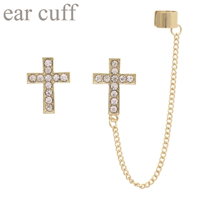 23363CR RHINESTONE CROSS EAR CUFF