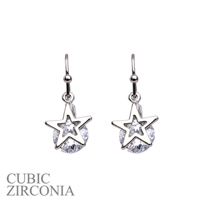 24576CR SILVER CUBIC ZIRCONIA STAR POST EARRINGS