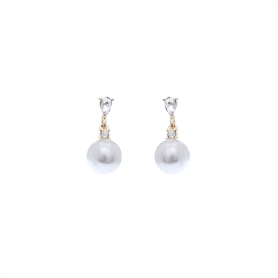 25488 SMALL RHINESTONE PEARL EARRINGS