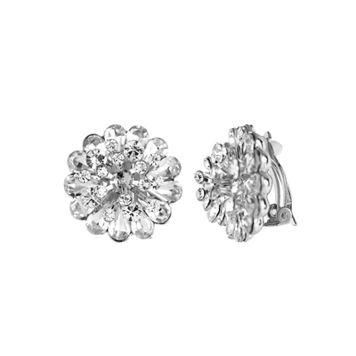 25761 CRYSTAL CLIP ON FLOWER EARRINGS