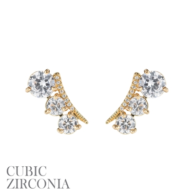 25791CR TRIPLE RHINESTONE STUD EARRINGS