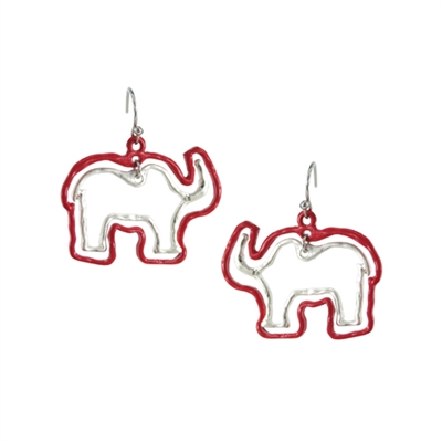 25955LSI RED ELEPHANT EARRINGS