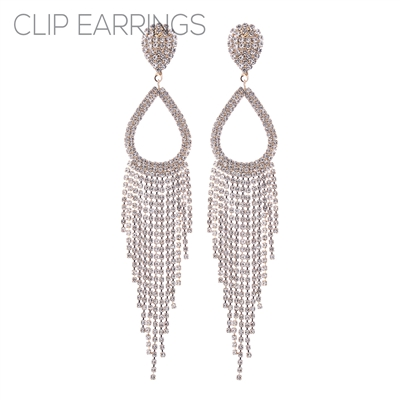 26057CECR RHINESTONE OPEN TEARDROP FRINGE CLIP ON ER