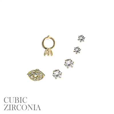 RING/KISS STUD SET