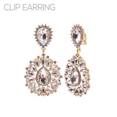 26190CECR RHINESTONE TEARDROP FLOWER CLIP ON ER