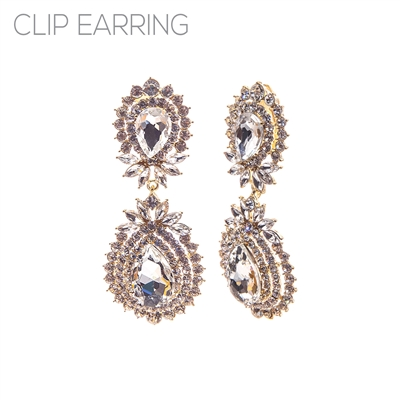 26193CECR RHINESTONE TEARDROP BURST CLIP ON ER