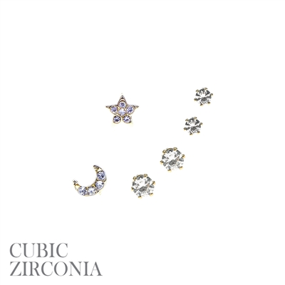 MOON/STAR EARRING SET