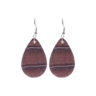 SMALL TEARDROP LEATHER EARRING