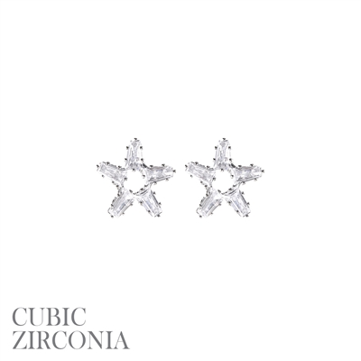26667CR RHINESTONE SILVER STAR STUD EARRINGS