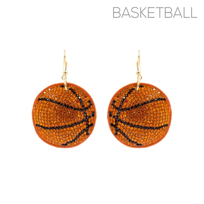 26691 RHINESTONE PUFF BASKETBALL EARRINGS