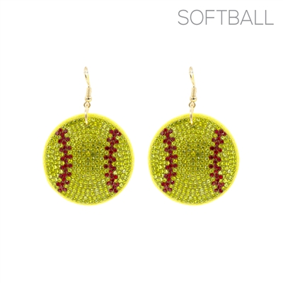 26692 RHINESTONE PUFF SOFTBALL EARRINGS
