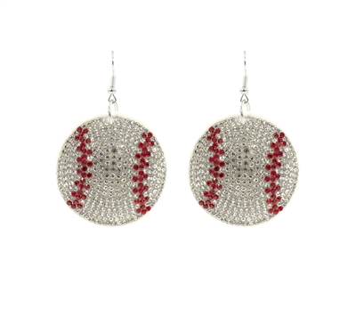 26692-WH RHINESTONE PUFF BASEBALL EARRINGS