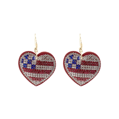 26717 RED MULTI RHINESTONE PUFF HEART EARRINGS