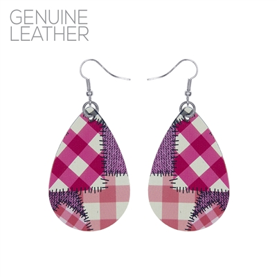 27189 PATCH WORK PATTERN TEARDROP EARRINGS