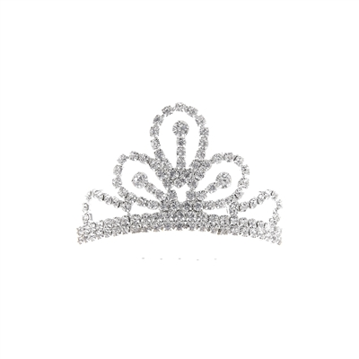 60731CR MINI RHINESTONE SILVER ORNAMENTAL COMB TIARA