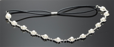 71260WH-S CA s pearl rhinestone stretch head band