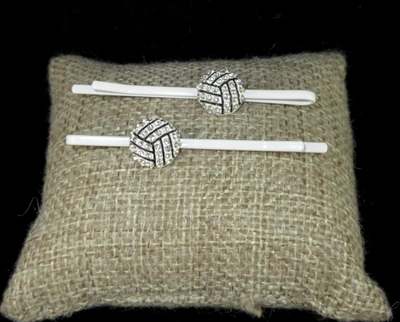 "71901 RNINESTONE  ""VOLLEYBALL"" HAIR CLIPS"