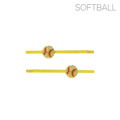 71903JO RHINESTONE SOFTBALL HAIR CLIPS