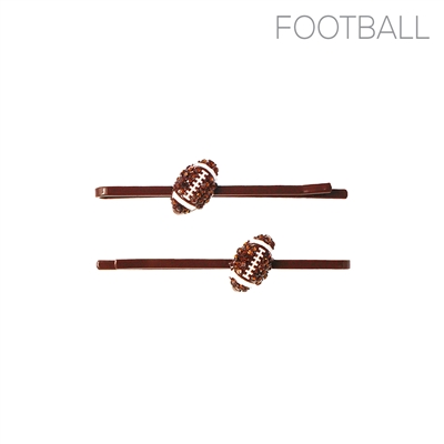 71904STO RHINESTONE FOOTBALL HAIR CLIPS