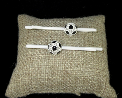 "71905 RNINESTONE  ""VOLLEYBALL"" HAIR CLIPS"