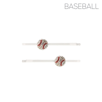 71900WH RHINESTONE BASEBALL HAIR CLIPS