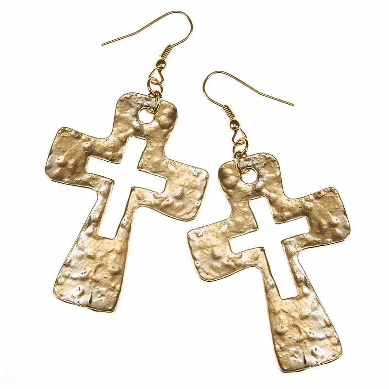 7677E-GD LT ANT GOLD CUT-OUT CROSS EARRING
