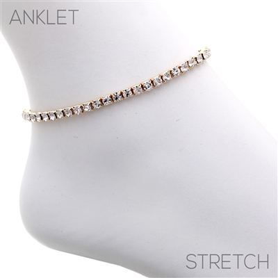 80871ACR CLEAR RHINESTONE SINGLE LINE ANKLET