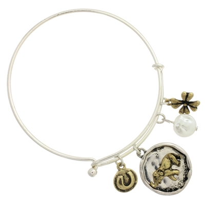 82446WH HAMMERED GOOD LUCK ELEPHANT CHARM BANGLE