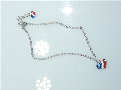 82837 CHAIN USA HEART ANKLET