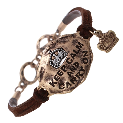 "83183 HAMMERED ""KEEP CALM"" SUEDE BRACELET"
