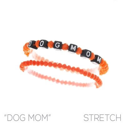 83482 BEADED STRETCH ''DOG MOM'' BRACELET