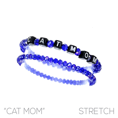 83483 BEADED STRETCH ''CAT MOM'' BRACELET