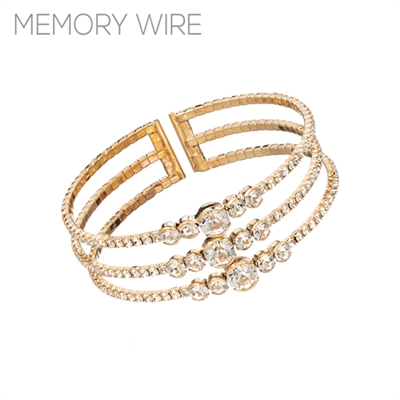83534CR GOLD RHINESTONE CUFF BANGLE