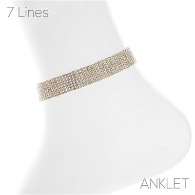 83734ACR 7 LINE CLEAR RHINESTONE ANKLET