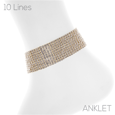 83735ACR 10 LINES CLEAR RHINESTONE ANKLET