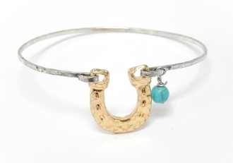 9452B HAMMERED HORSESHOE BANGLE