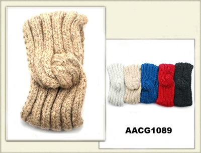 AACG1089 Head Band Knit W/Swirl