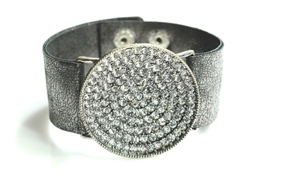 AB2008-SBBKCL LEATHER RHINESTONE CIRCLE BRCLT