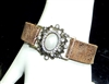AB2081 PEARL RHINESTONE LEATHER BRACELET