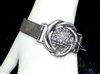 SILVER RHINESTONE LEATHER BRACELET