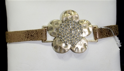 AB2169 FLOWER RHINESTONE LEATHER BRACELET
