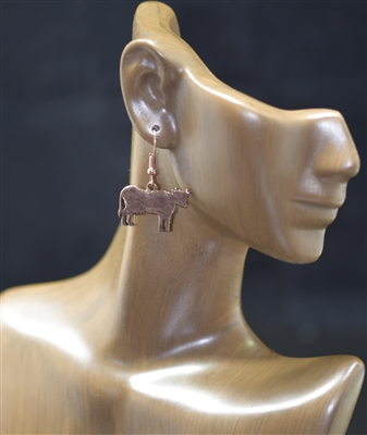 "AE1789 HAMMERED ""COW"" POST EARRING"