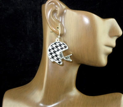 AE3308 HOUNDSTOOTH PATTERN FOOTBALL HELMENT EARRINGS