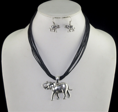 AS6170 HAMMERED SILVER ELEPHANT MULTI CORD NK SET