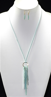 BNE02731 SMALL CRYSTAL BEAD LONG TASSEL NECKLACE SET