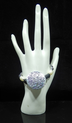 BR1103 SILVER TREE OF LIFE TOGGLE BRACELET